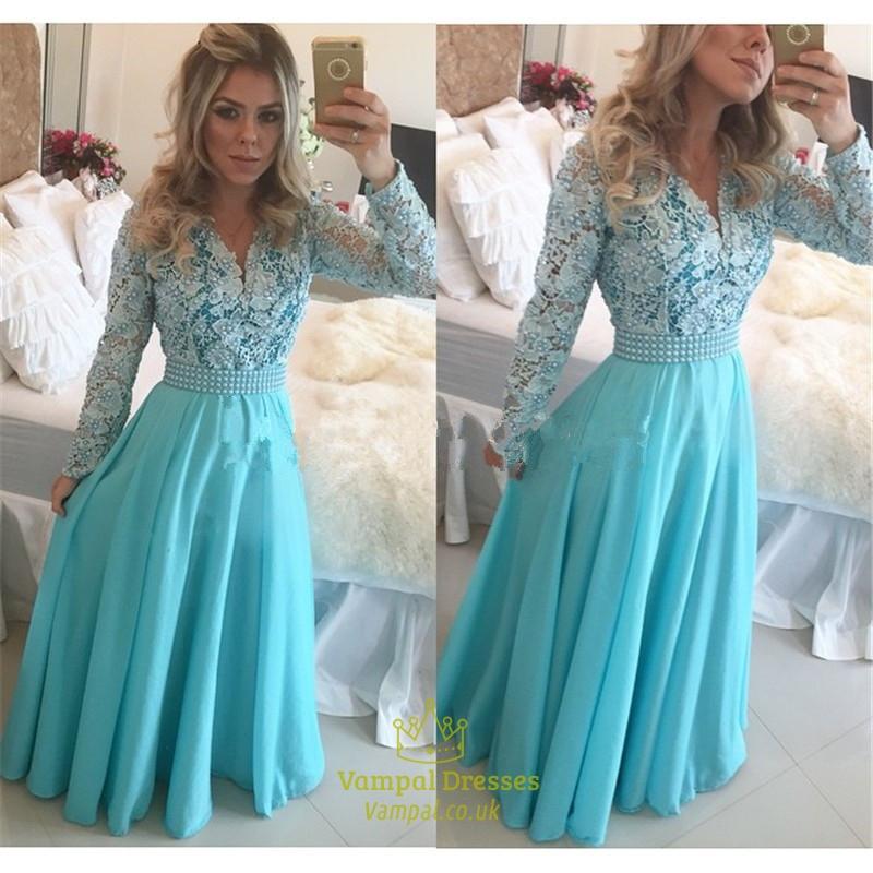 Blue A Line Lace Bodice Sheer Long Sleeve Chiffon Prom Dress ...