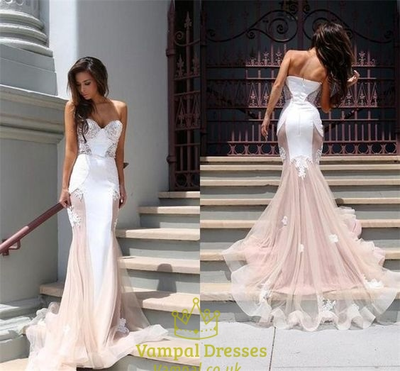 Pink Wedding Dresses Near Me: Champagne Strapless Sweetheart Sheer Lace Mermaid Prom