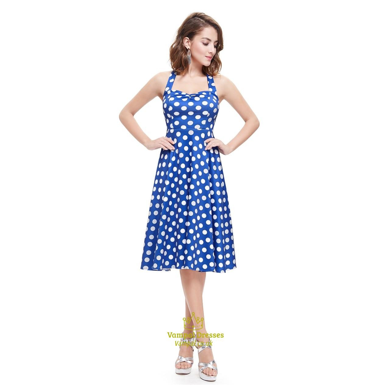 817b86559e34 Blue And White Halter Knee Length Polka Dot Sleeveless Summer Dress SKU  -AP014