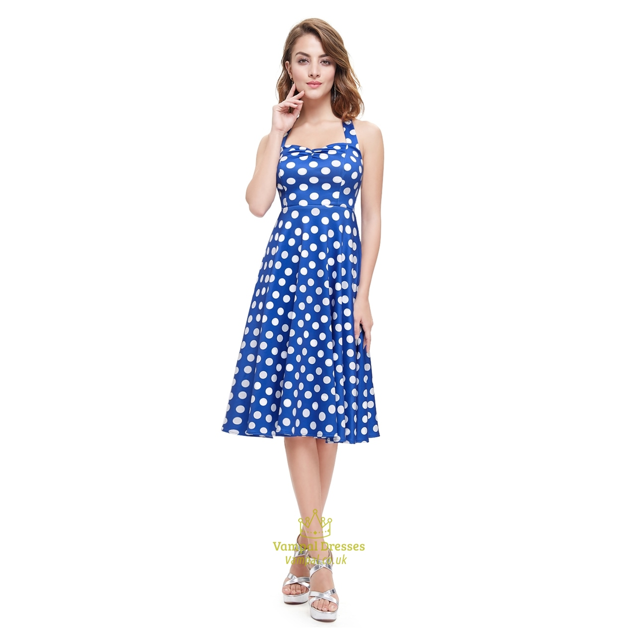 Blue And White Halter Knee Length Polka Dot Sleeveless