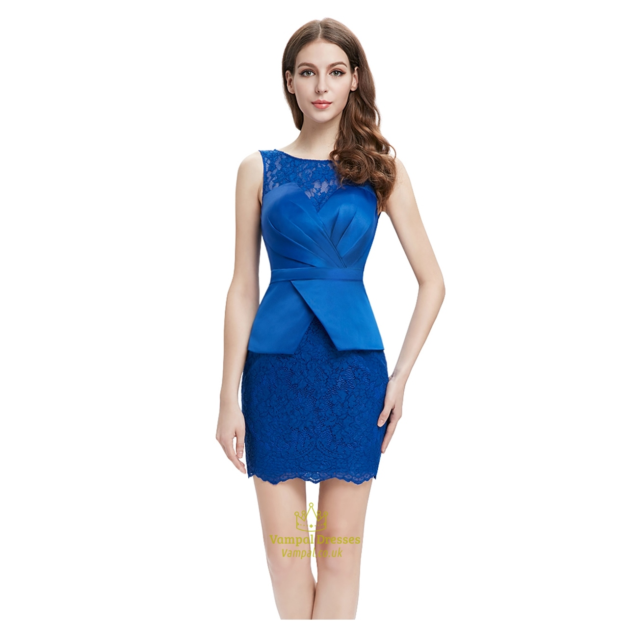 b41619292fb Royal Blue Lace Embellished Peplum Pencil Dress With Illusion Neckline SKU  -AP015