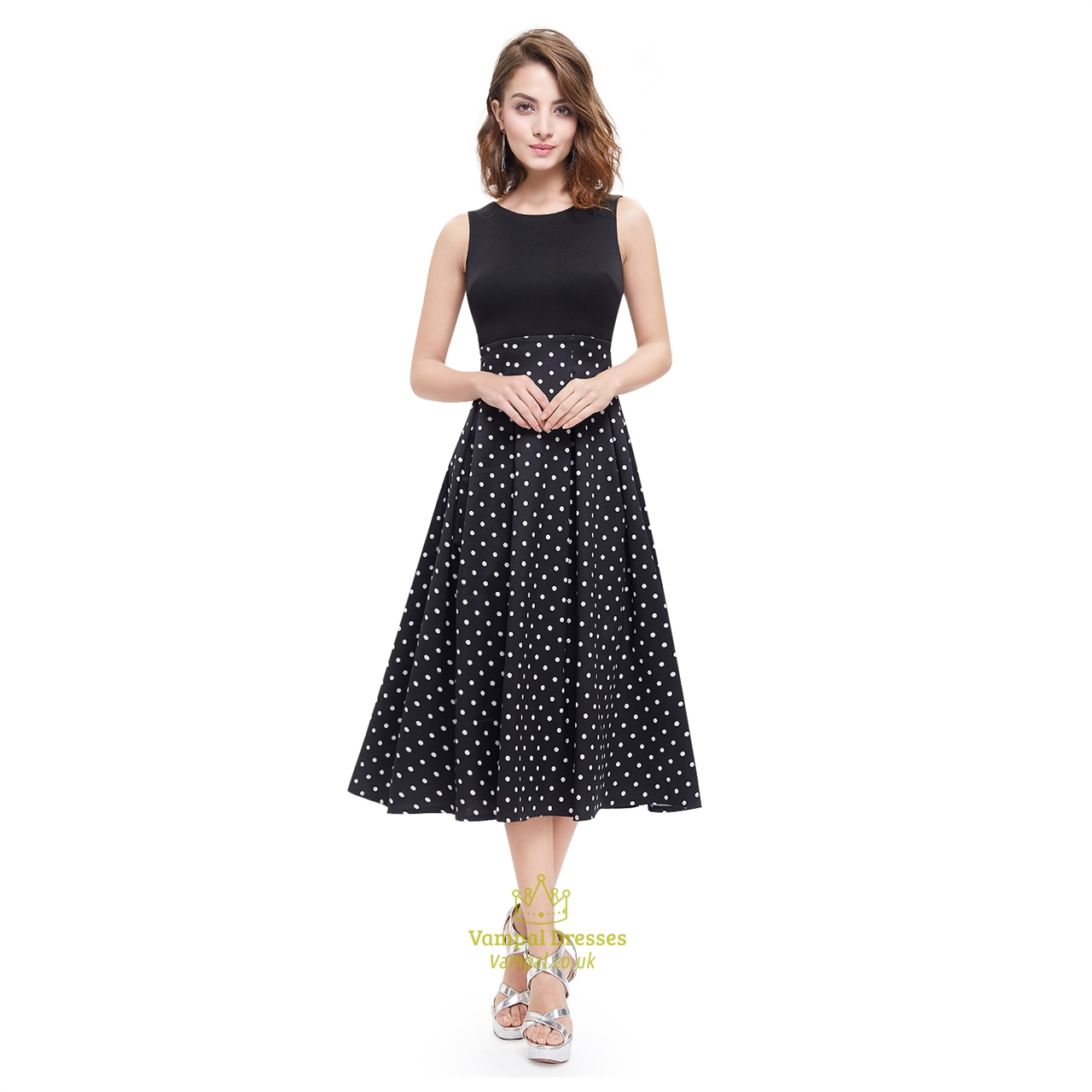 d99b616409 ... watch 52b93 94c52 Vintage Black And White Polka Dot Sleeveless Fit And  Flare Midi Dress ...