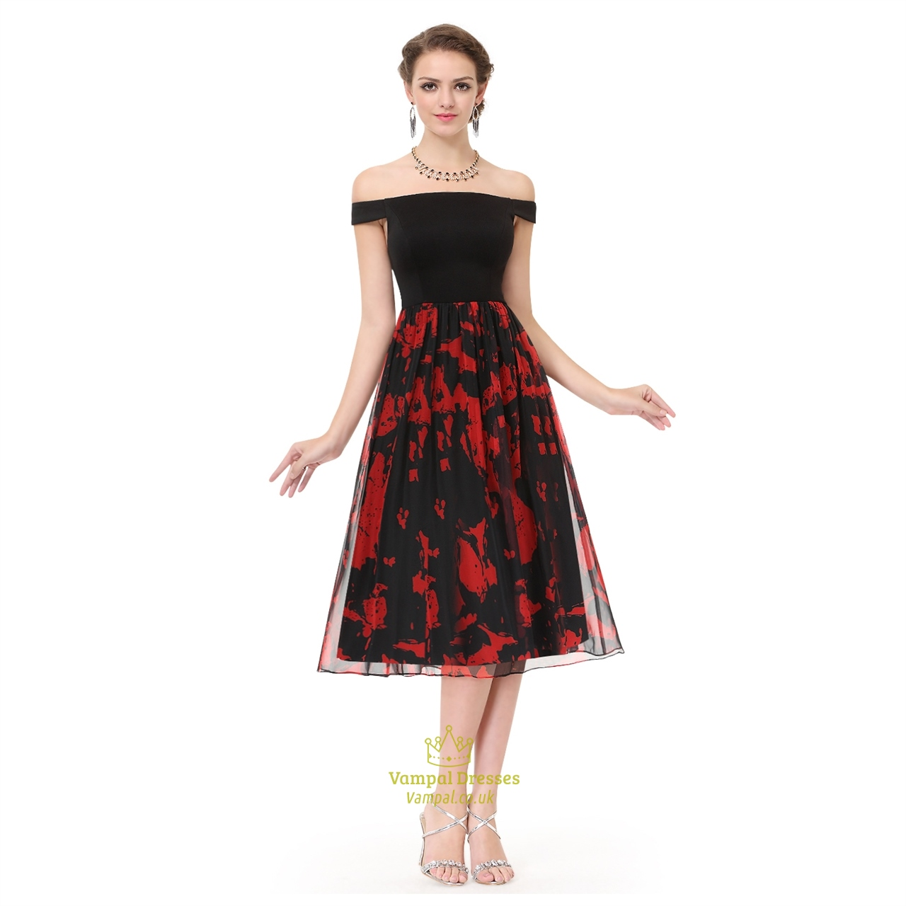 Red And Black Gown: Red And Black Off The Shoulder Chiffon Floral Print Skater