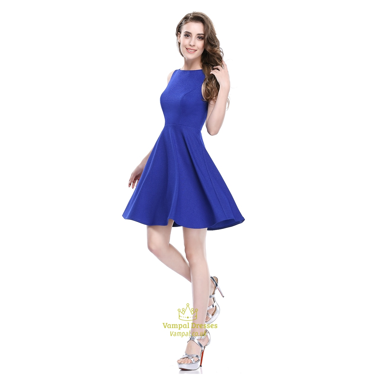 7280100dae2c Royal Blue Short Sleeveless Scoop Neck Fit And Flare Skater Dress SKU -AP025
