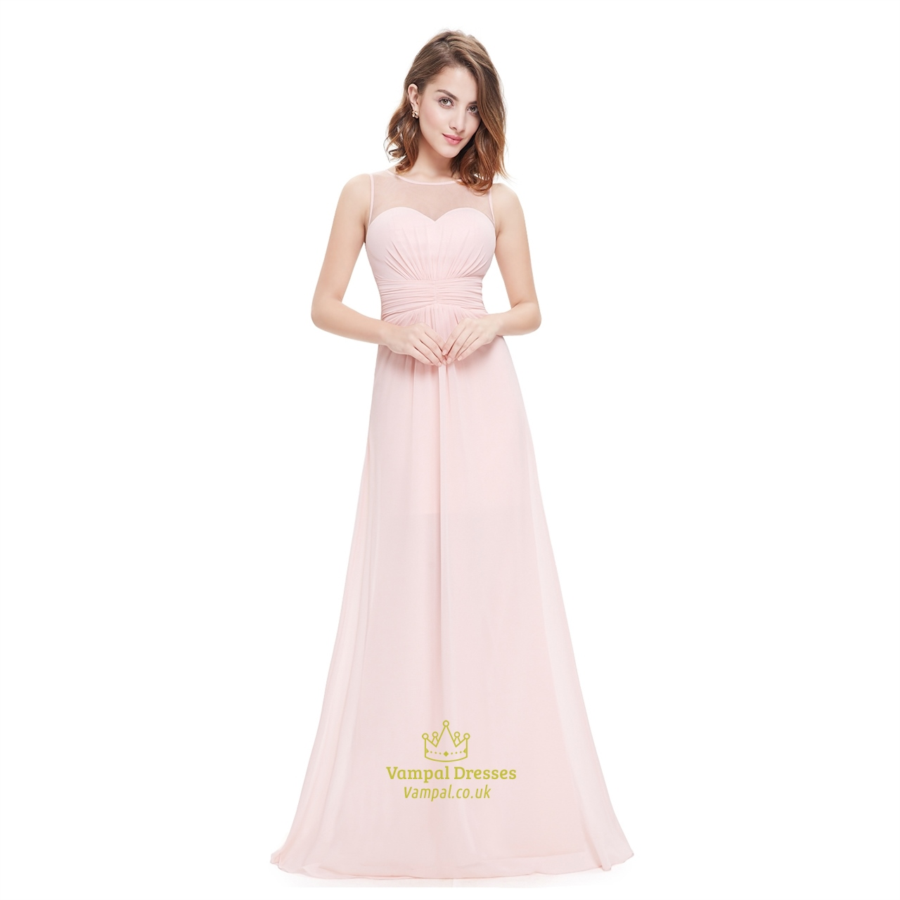 Sheer long pink flowy chiffon bridesmaid dress with for Long flowy wedding dresses