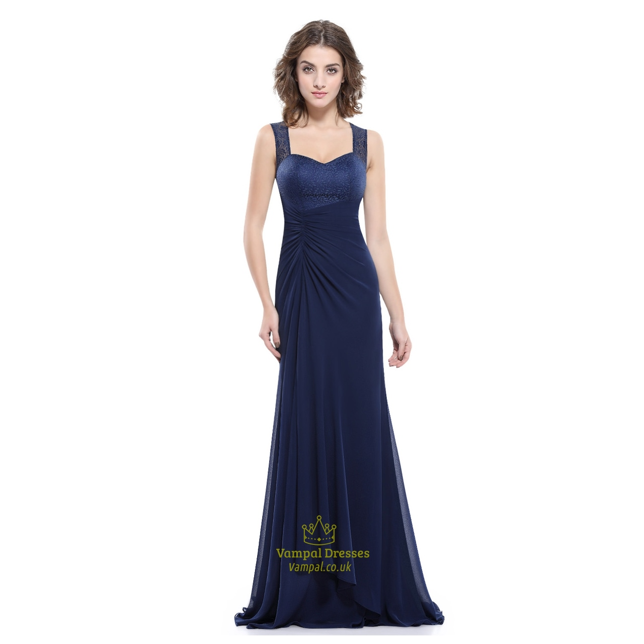 86c2c010d717 Navy Blue Chiffon Evening Dress With Lace Bodice And Shoulder Straps SKU  -AP041