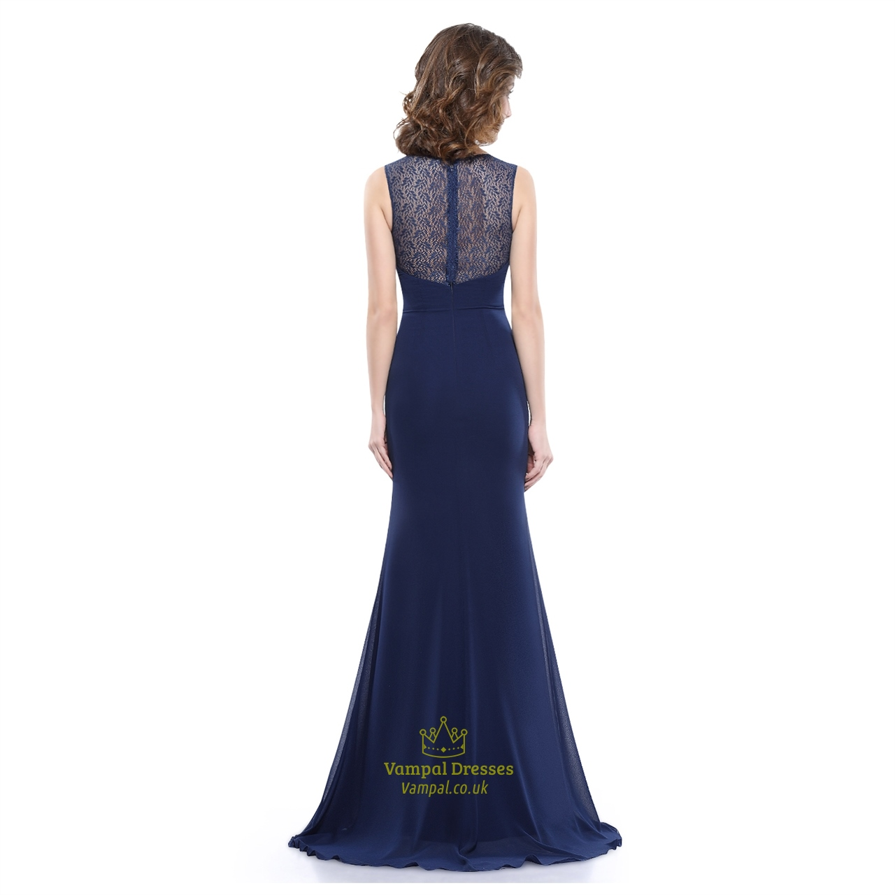 Navy Blue Chiffon Evening Dress With Lace Bodice And ...