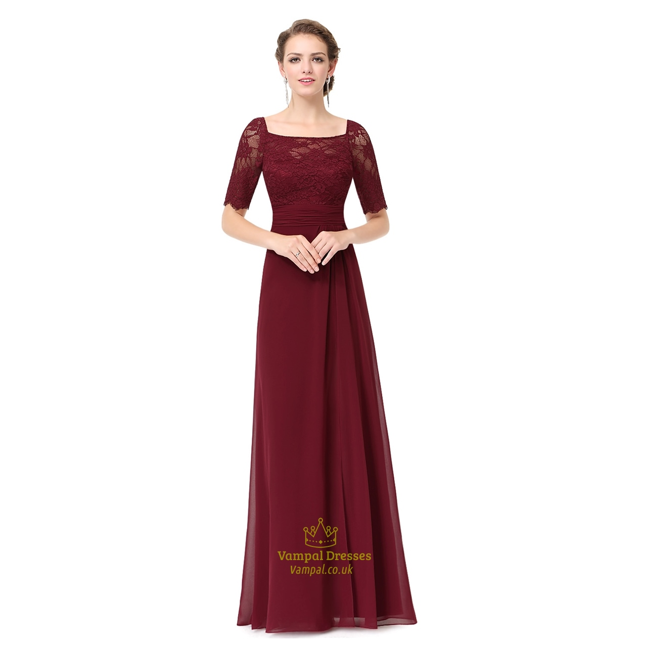 Burgundy Chiffon Lace Bodice Short Sleeves Bridesmaid Dress With ...