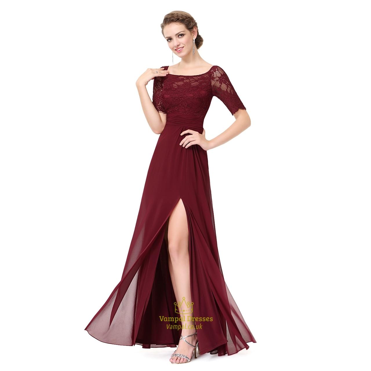 Burgundy Chiffon Lace Bodice Short Sleeves Bridesmaid