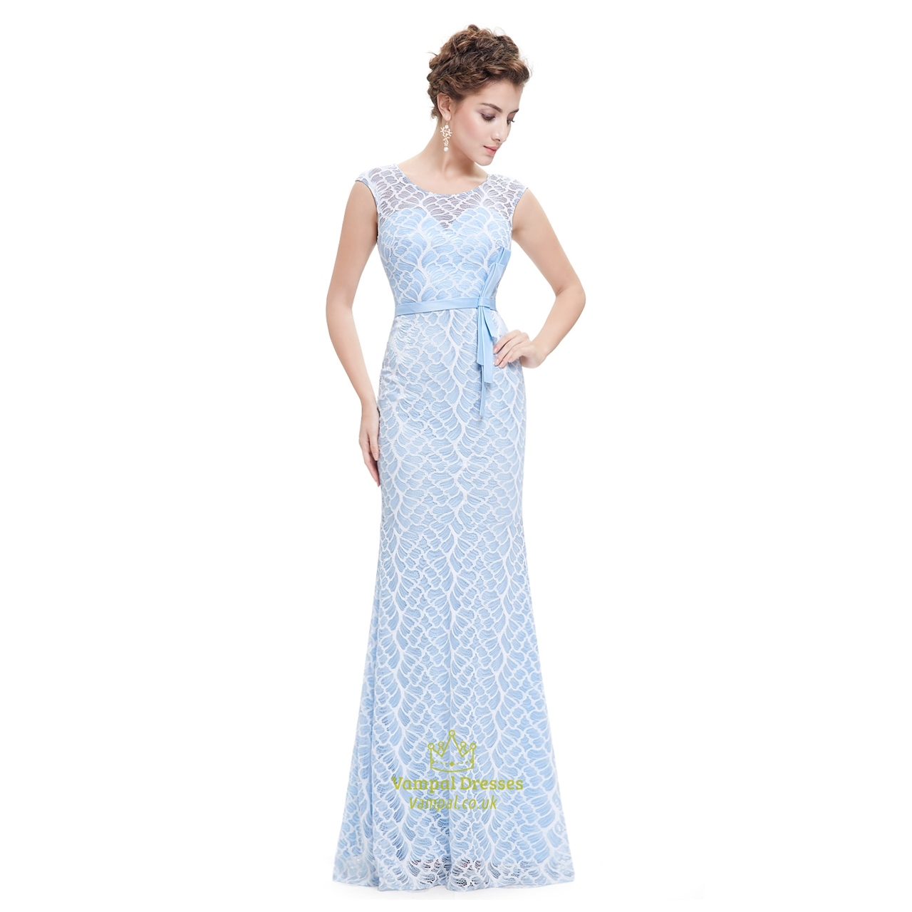 Sky Blue Floor Length Sleeveless Mermaid Dress With Lace Embellished ...