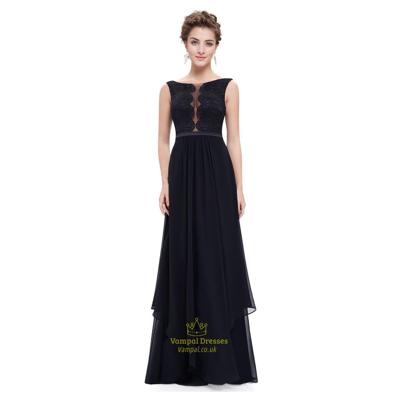 black lace embellished illusion bodice chiffon evening