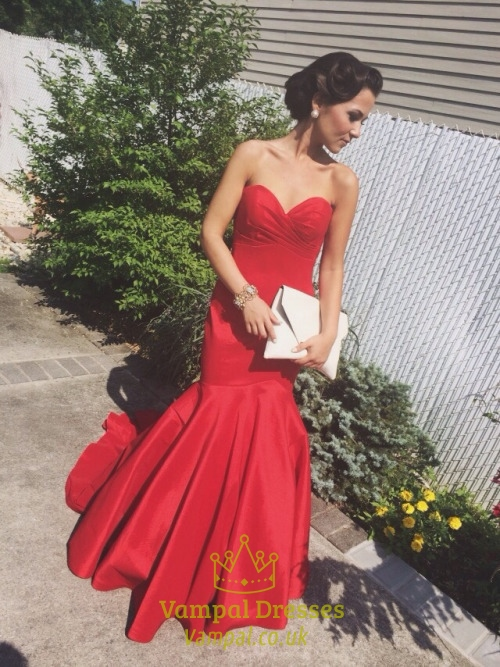 Red Strapless Sweetheart Neckline Drop Waist Ruched Mermaid Prom Dress