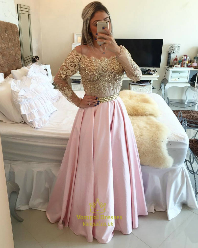 8a6d04c95f Gold Lace Off The Shoulder Long Sleeve Pink Satin A Line Prom Dress SKU  -AP393