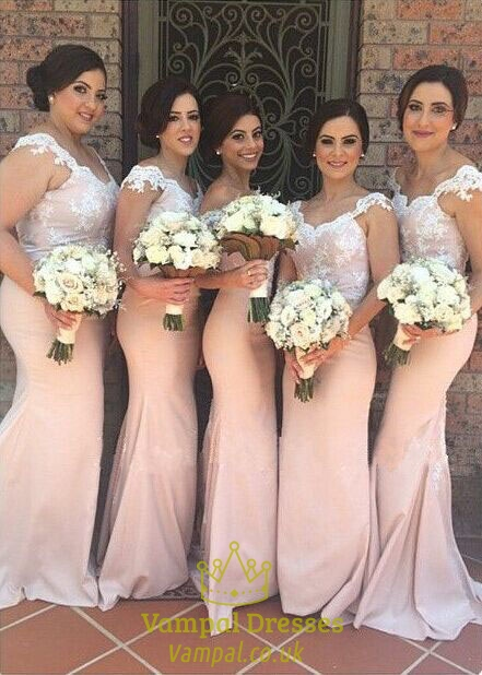 Pink Cap Sleeve Floor Length Lace Bodice Mermaid Long Bridesmaid Dress