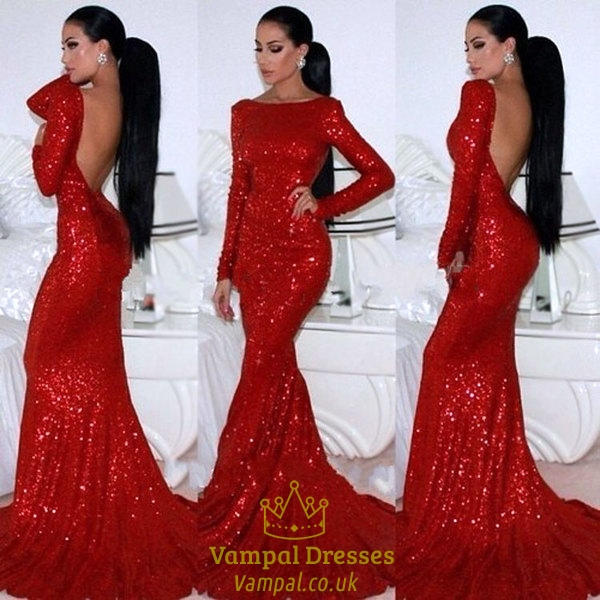 Red Long Sleeve Backless Floor Length Sheath Sequin Mermaid Prom Dress