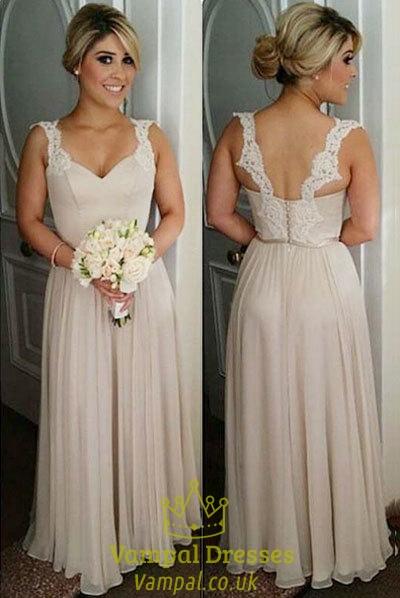 Champagne Sleeveless Chiffon Bridesmaid Dress With Lace