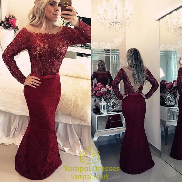 Red Illusion Beaded Lace Bodice Long Sleeve Sheath Mermaid Prom Dress