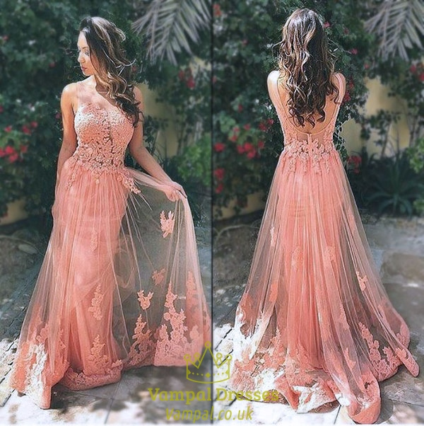Pink Sleeveless Open Back Applique Bodice Lace Overlay Prom Dress ...