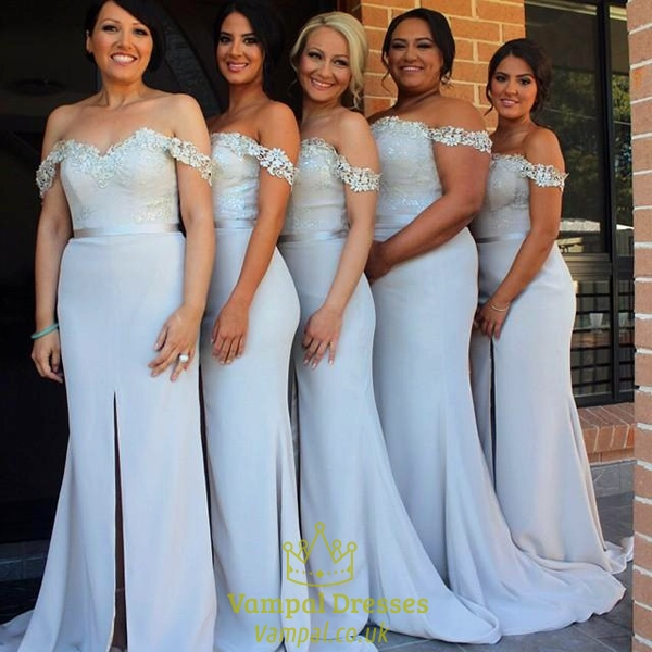 Light Blue Off The Shoulder Bridesmaid Dress With Slit In