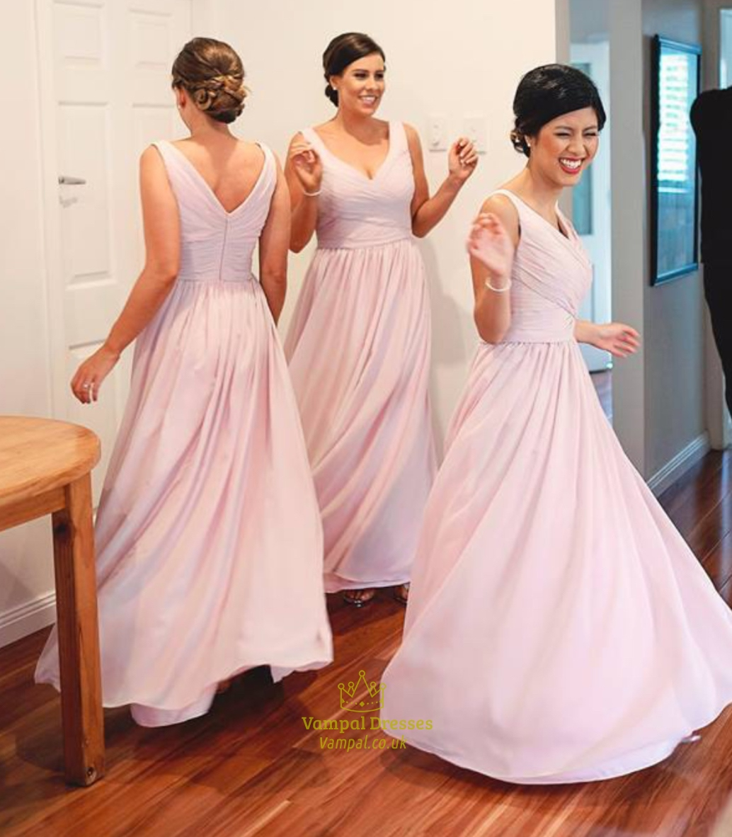 Pink Sleeveless Criss Cross Bodice V Neck Chiffon Bridesmaid Dress