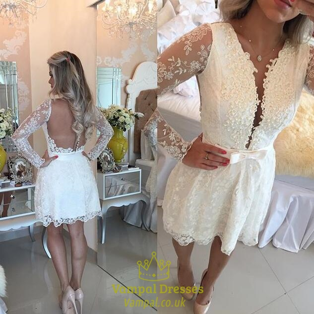 White Sheer Sleeve Plunge V Neck Open Back Lace Homecoming Dress