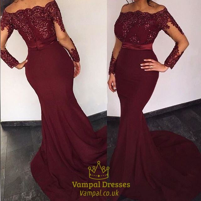 Burgundy Beaded Applique Off The Shoulder Long Sleeve Mermaid Prom ...