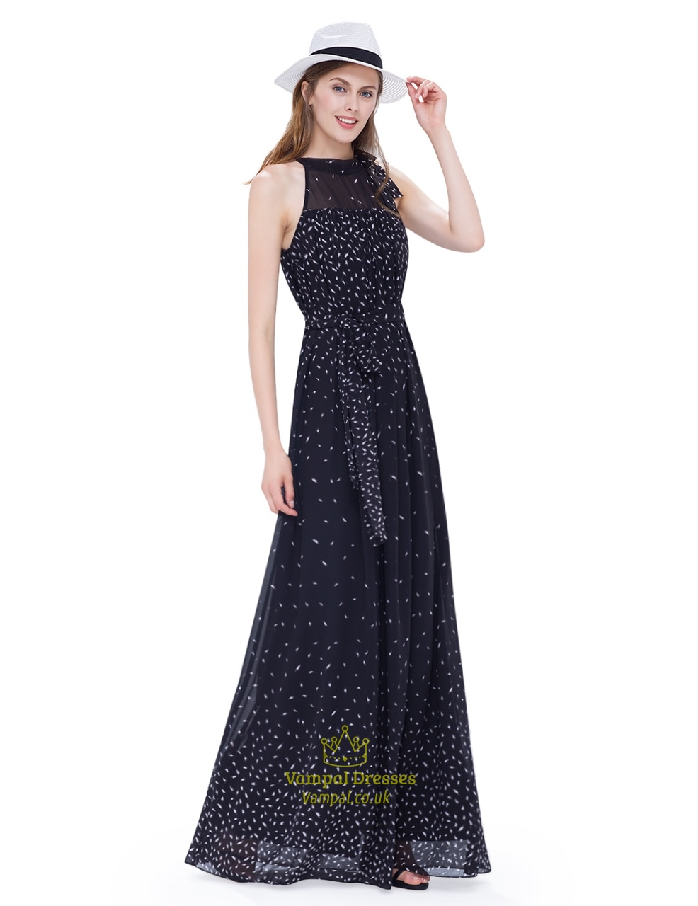 Black halter illusion neckline floor length a line chiffon for Floor length dresses