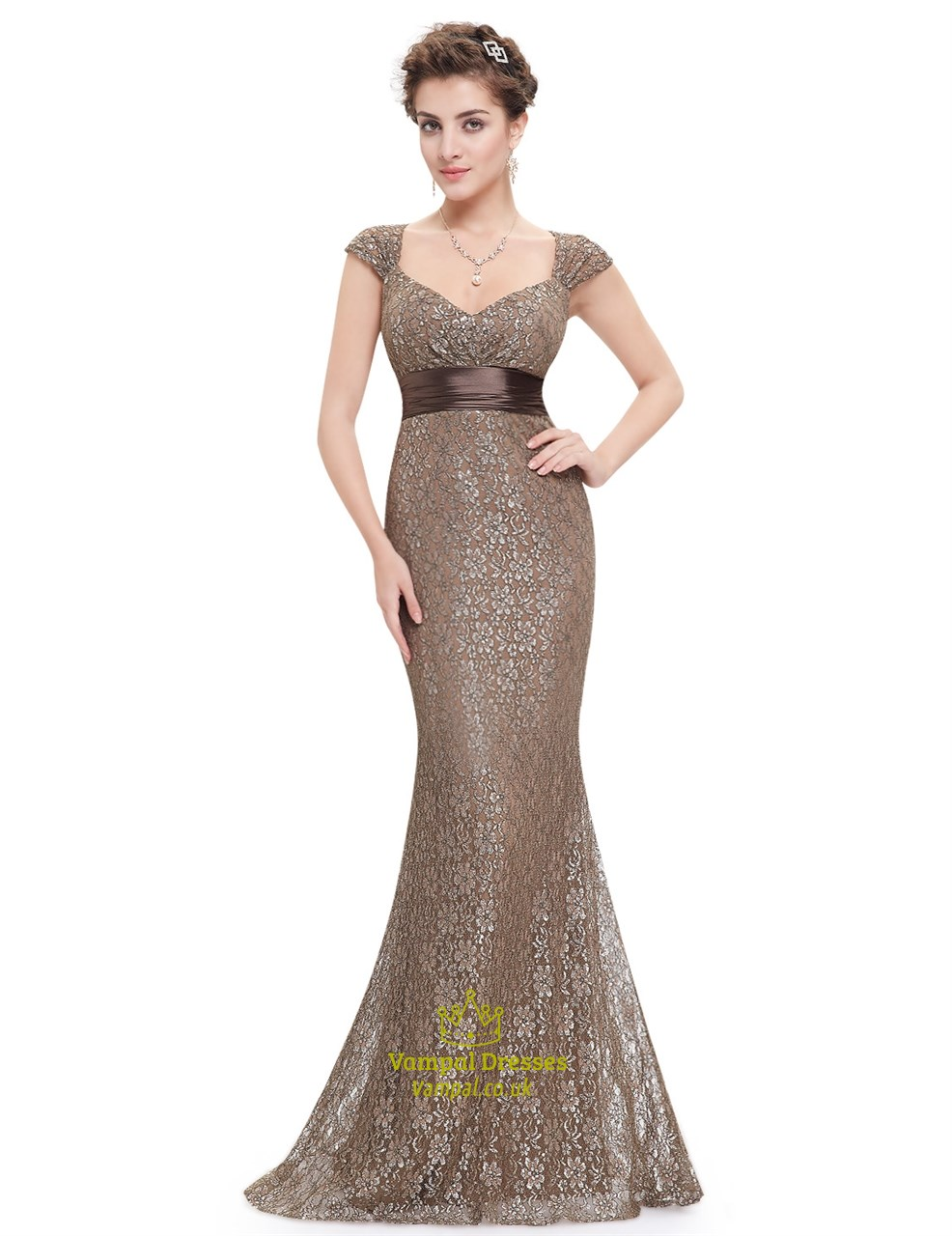 986bfa13f903 Cap Sleeve Sweetheart Neckline Empire Waist Lace Mermaid Prom Dress SKU  -AP102