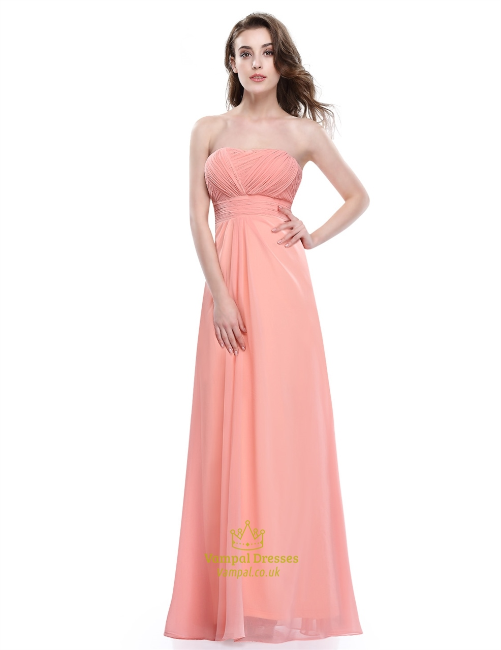 Strapless Empire Waist A Line Ruched Bodice Chiffon Bridesmaid Dress ...