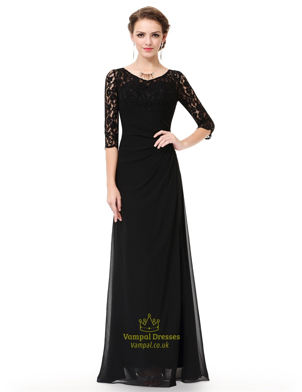 Black A Line Lace 3 4 Sleeve Chiffon Mother Of The Bride