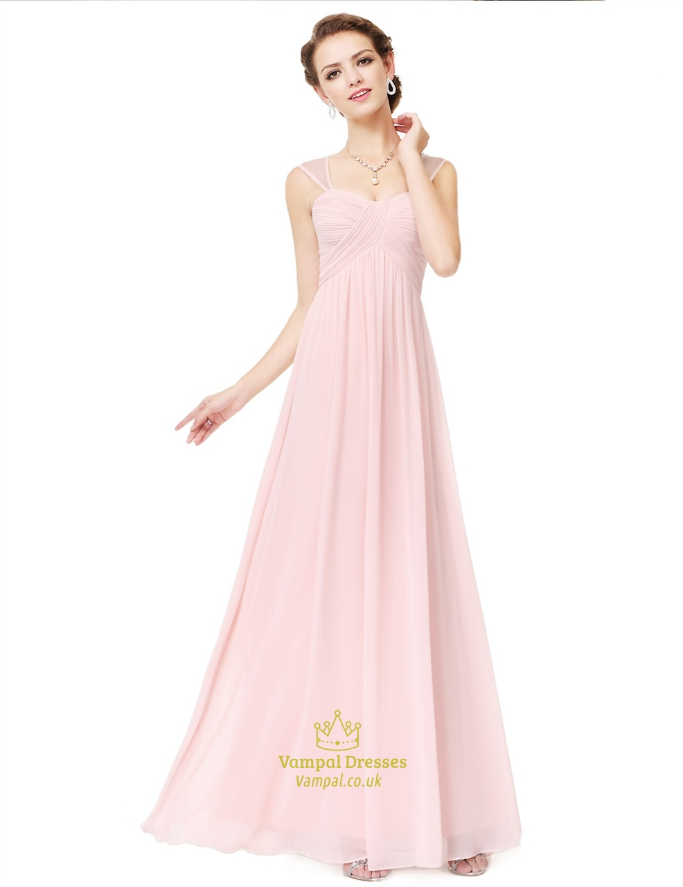 Blush Pink A Line Empire Waist Ruched Prom Dress With