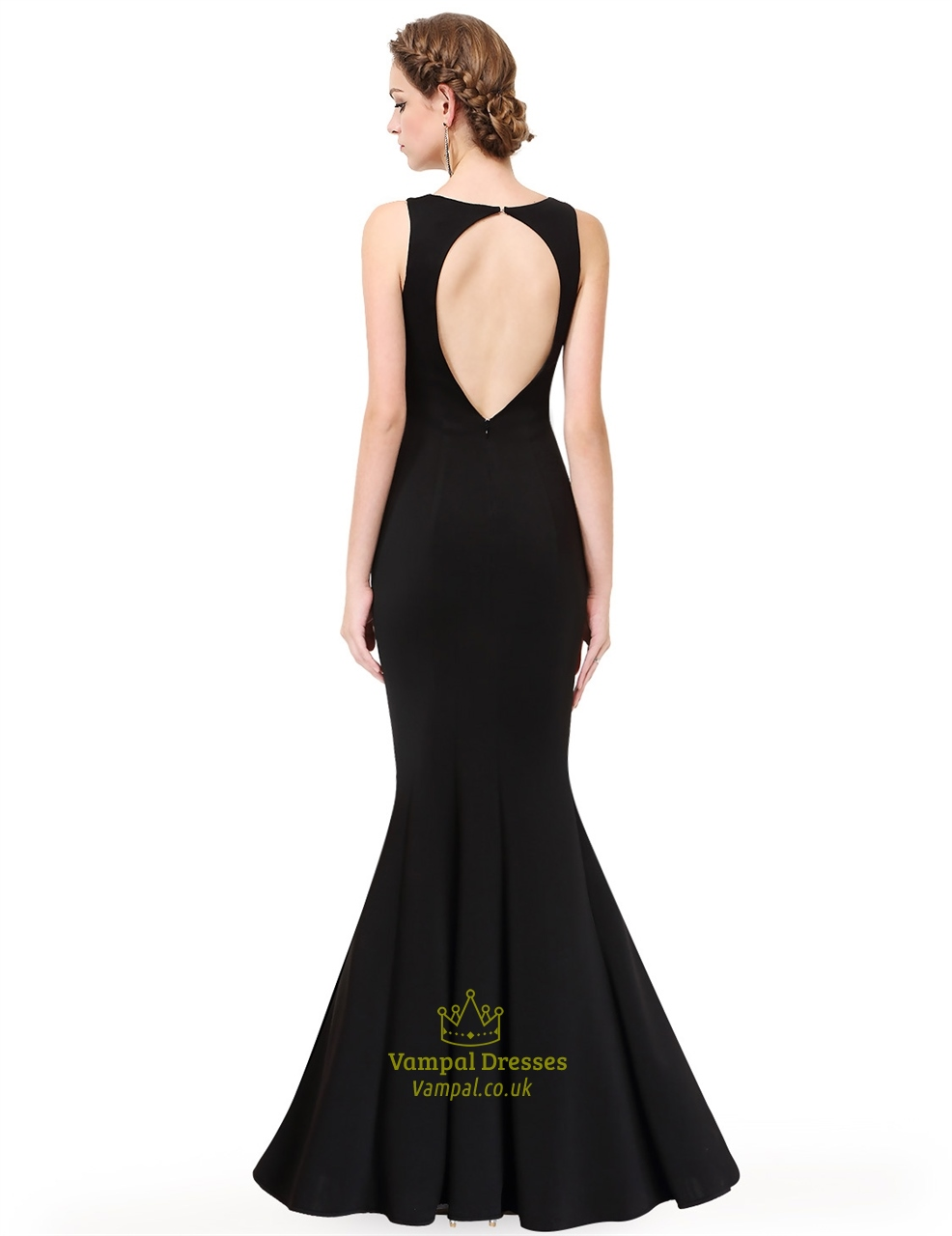 Black open back prom dresses