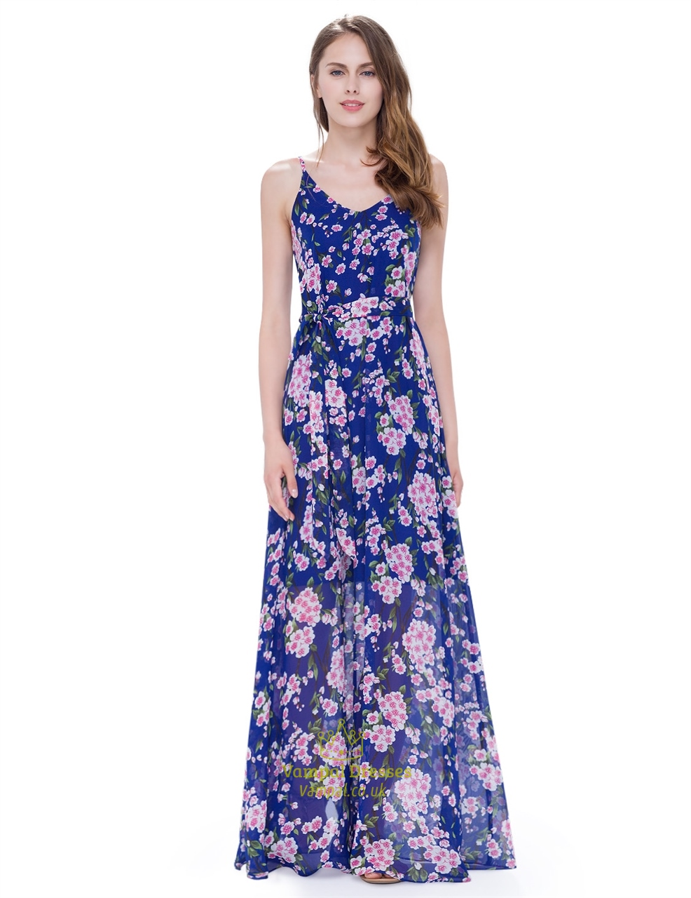 Women 39 s floral spaghetti strap floor length casual summer for Floor length gowns