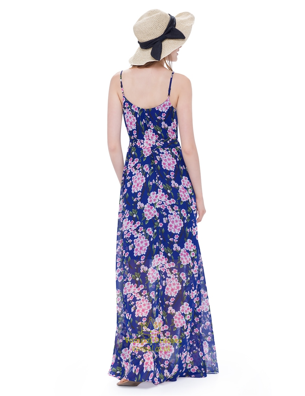 Women S Floral Spaghetti Strap Floor Length Casual Summer
