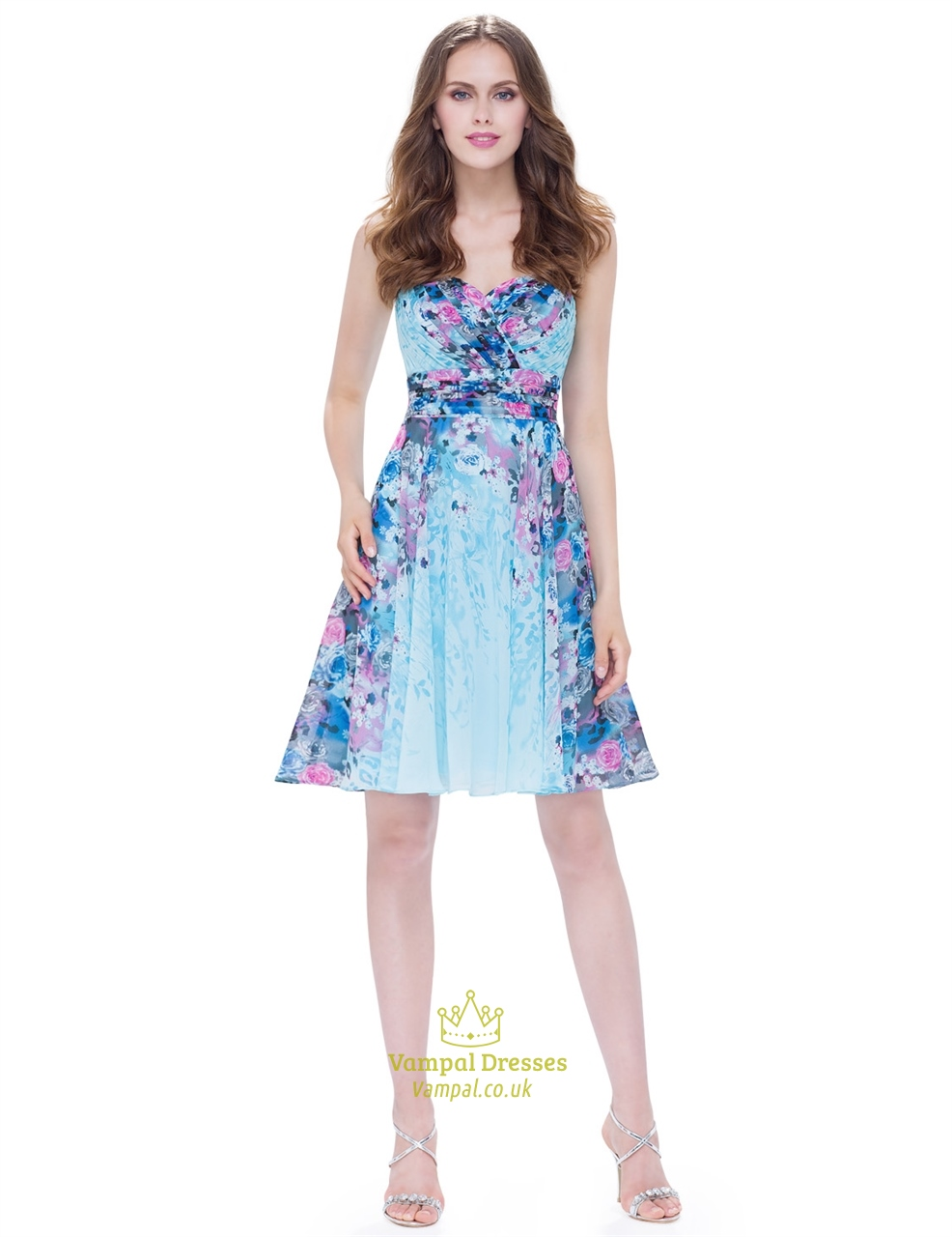 Strapless Floral Short Chiffon Cocktail Dress With Ruched
