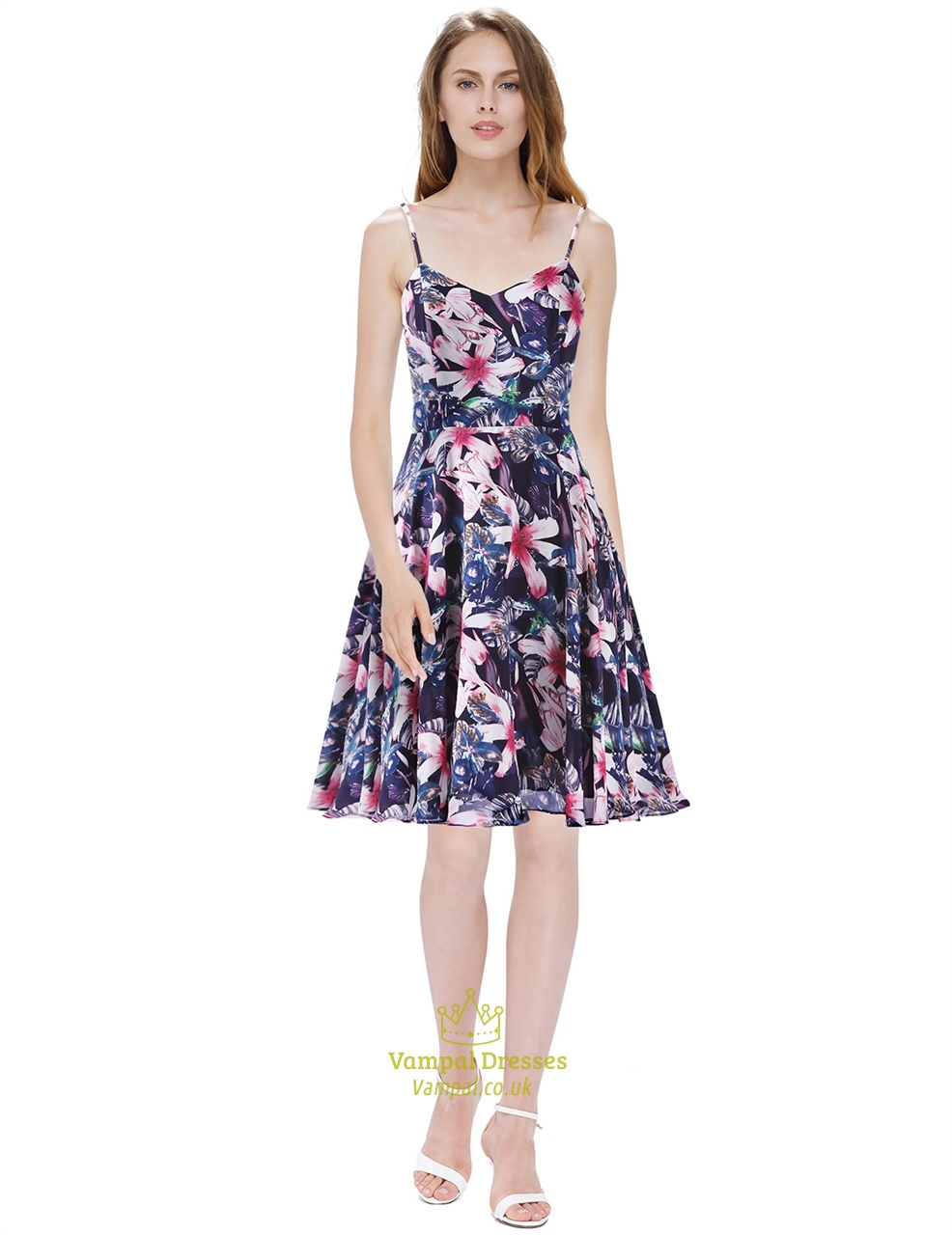 a3e3bd77307 Women S Floral Print Spaghetti Strap Knee Length Chiffon Summer Dress SKU  -AP118