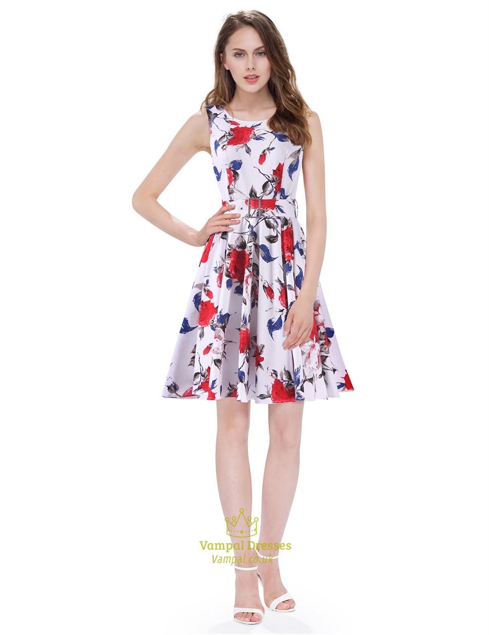 c17feea08db3 White Boat Neck Floral Sleeveless Skater Short Summer Dress With Belt SKU  -AP119