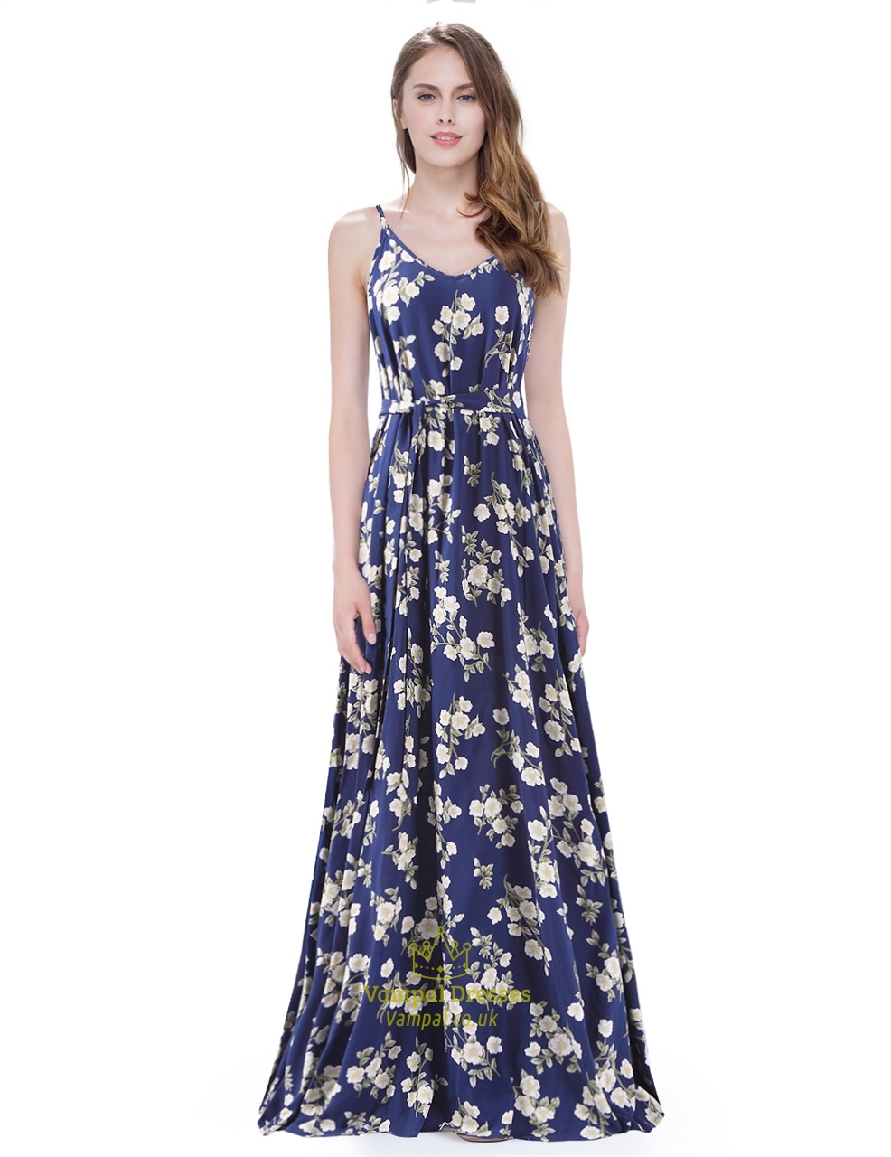 Spaghetti Strap Sleeveless A Line Floor Length Floral Print Long Dress | Vampal Dresses