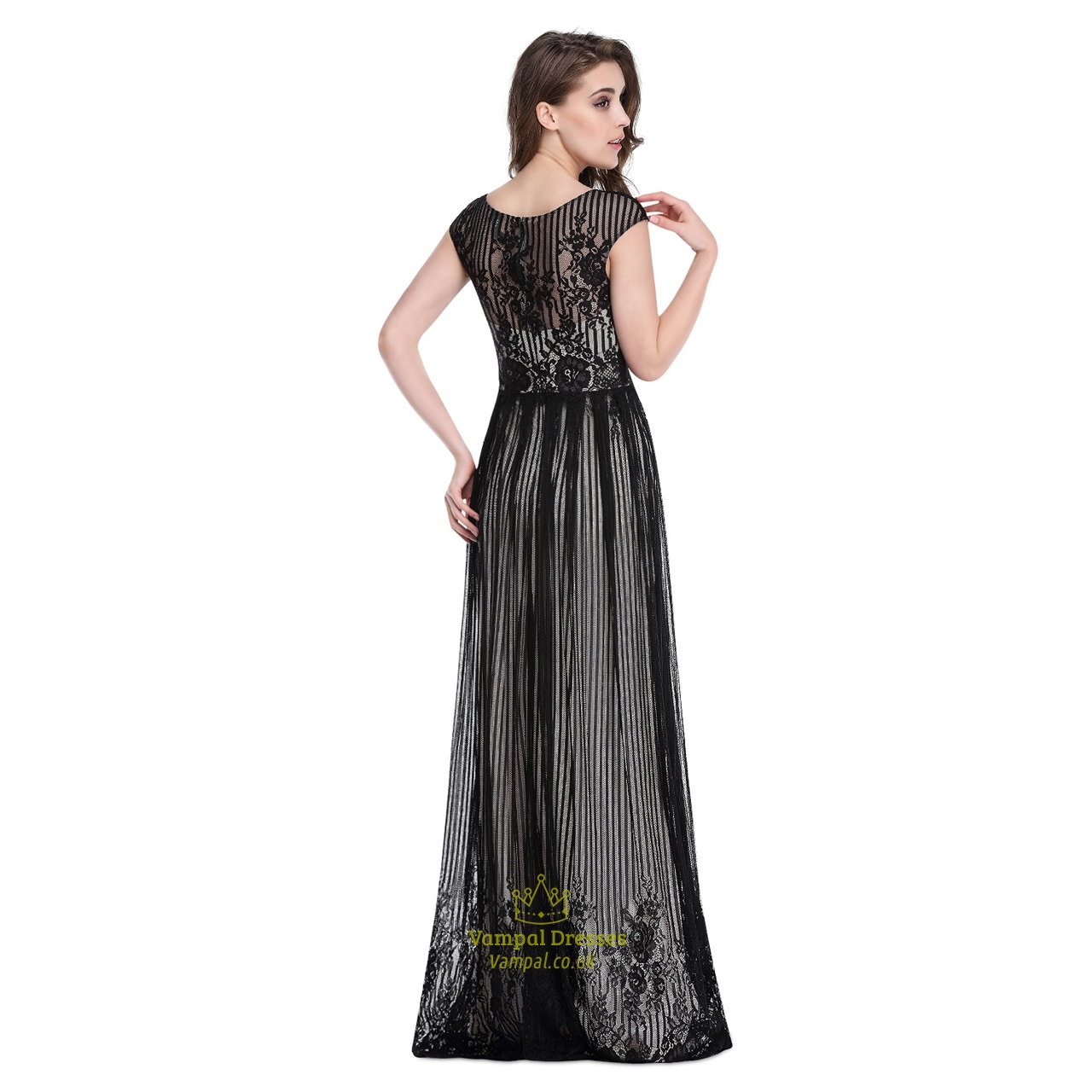 black floor length cap sleeves prom dress with lace