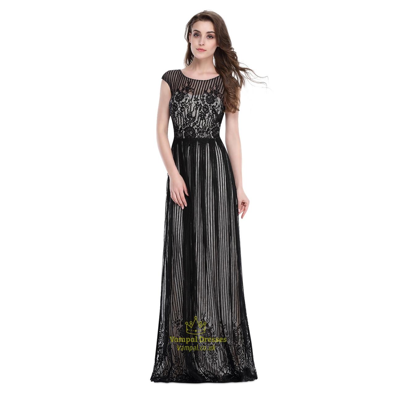 Floor Length Lace Embellished Prom Dress