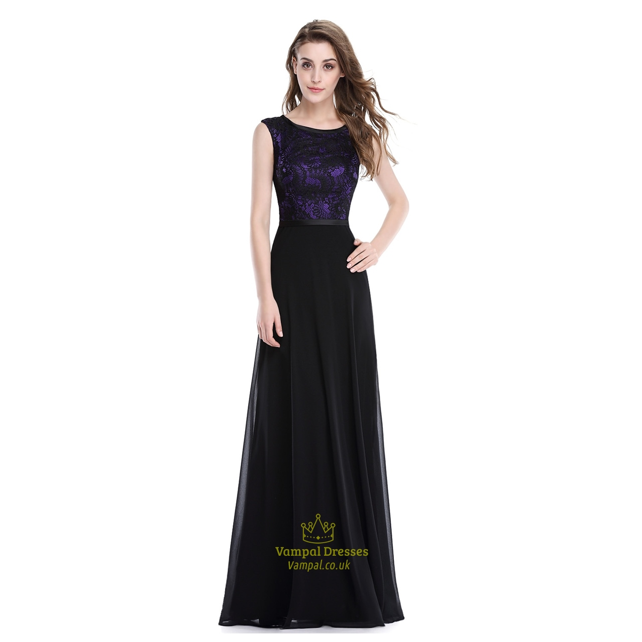 Elegant Long Purple And Black Chiffon Prom Dress With Lace . 7428047f8