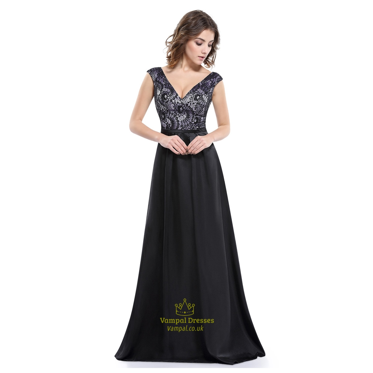 Black v neck sleeveless floor length dress with lace for Floor length dresses