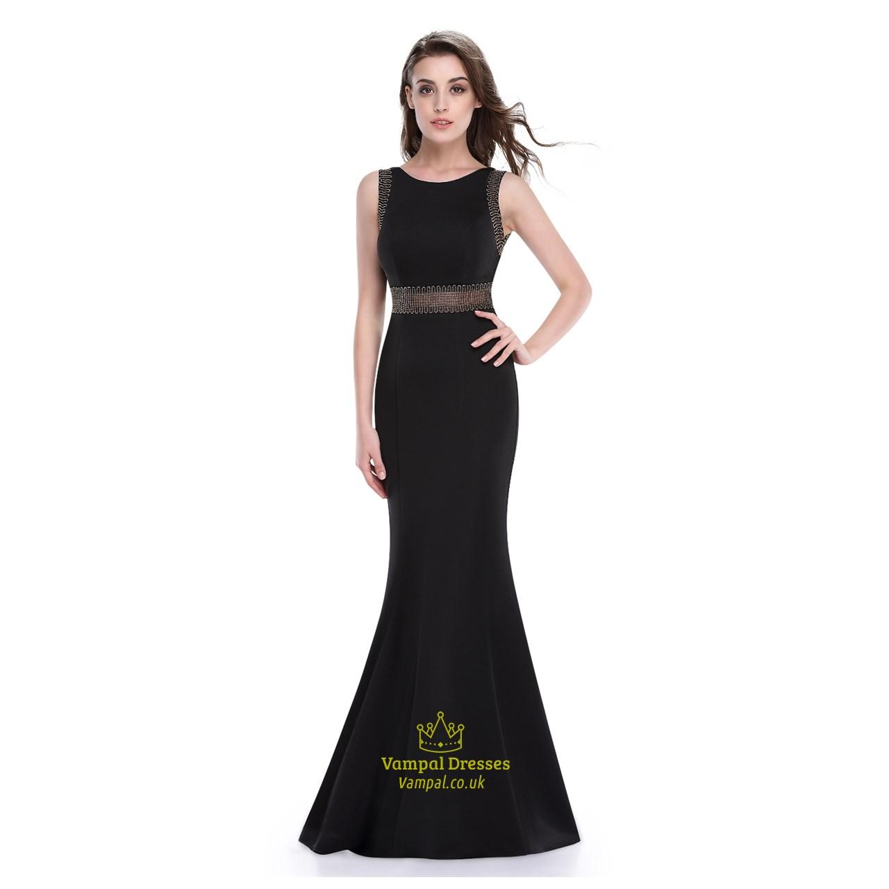 300c1ac34cde Black Mermaid Floor Length Sleeveless Prom Dress With Illusion Bodice SKU  -AP065