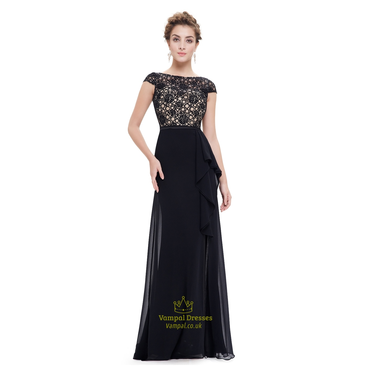 Black lace top formal dresses