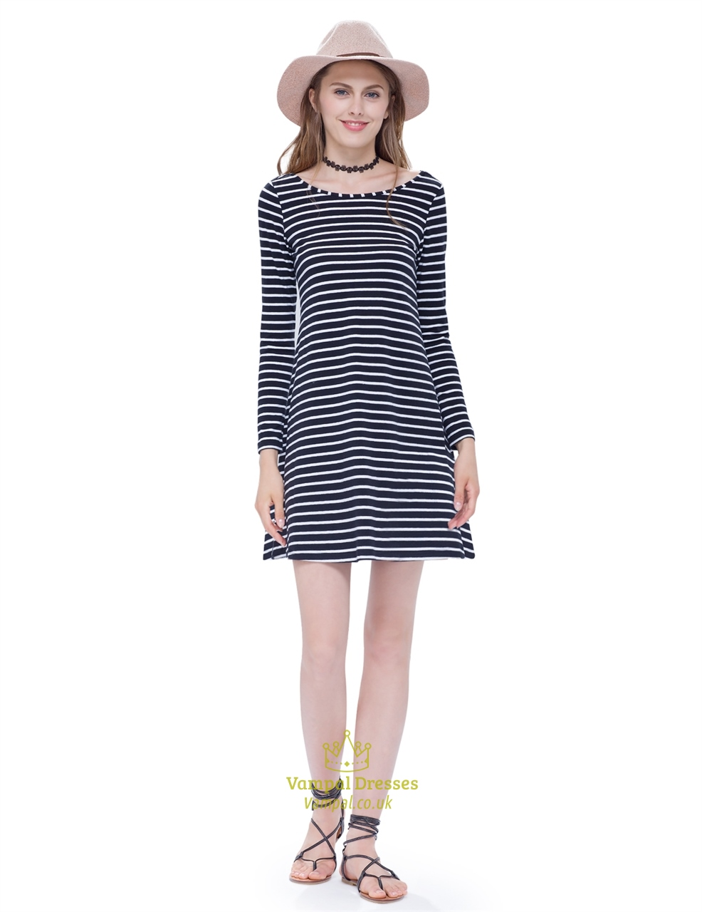 Classic Loose Black And White Striped T Shirt Dress With Long Sleeves | Vampal Dresses