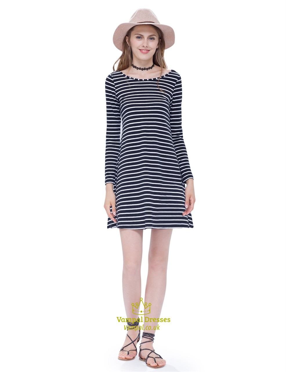 e8ce13b9b39e Classic Loose Black And White Striped T Shirt Dress With Long Sleeves SKU  -AP084