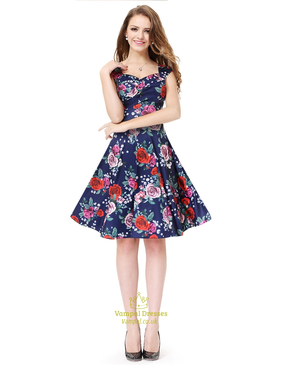 Blue Floral Jacquard Print Fit And Flare Skater Dresses