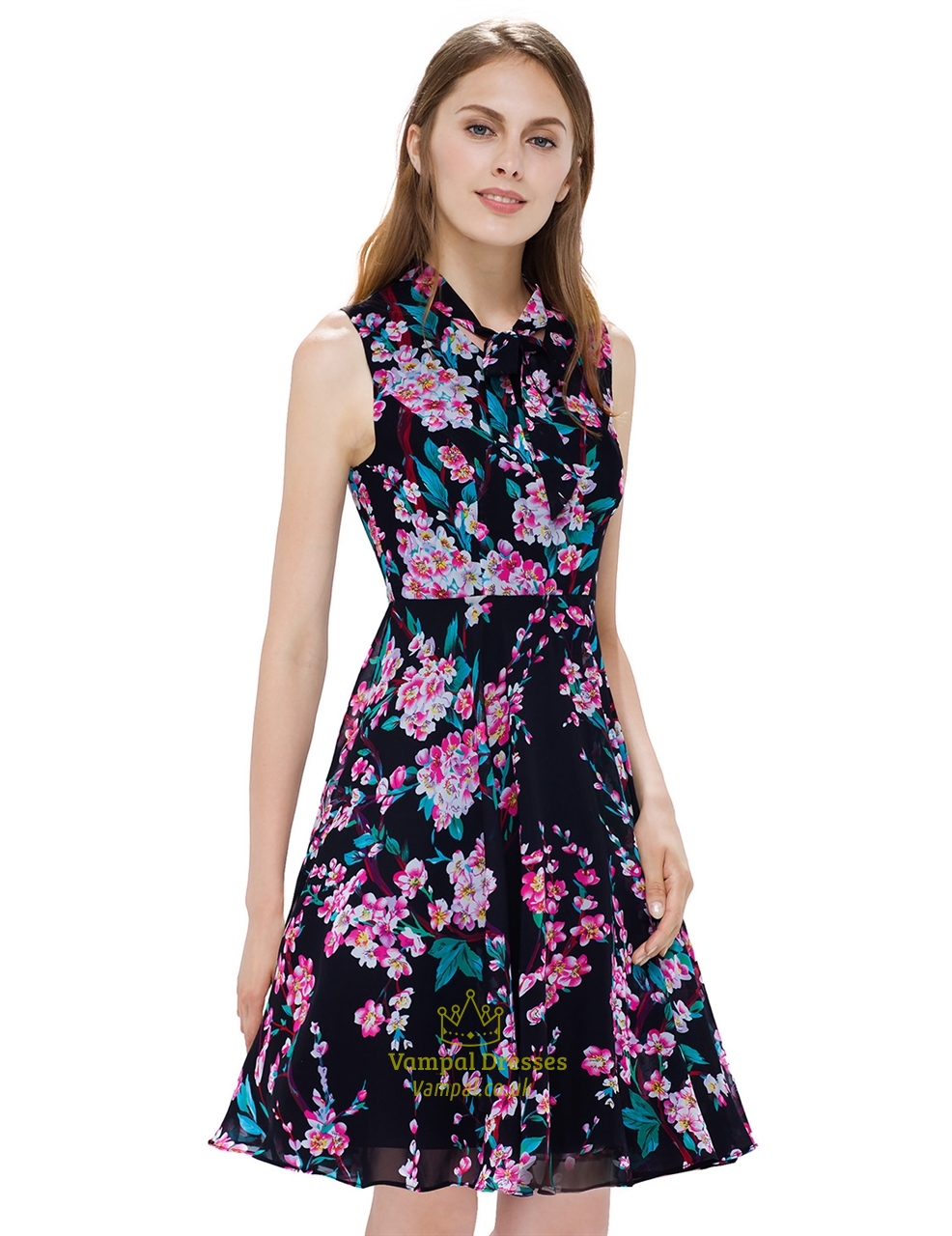 Black Garden Floral Print Sleeveless Georgette Short