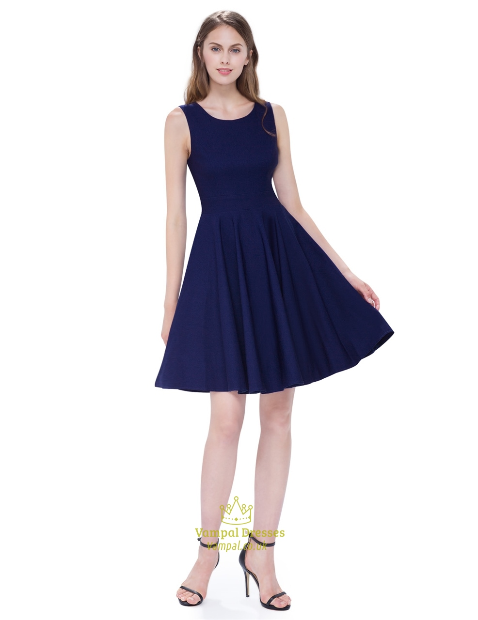 Vintage Navy Blue Scoop Neck Sleeveless Fit And Flare Cocktail Dress ...
