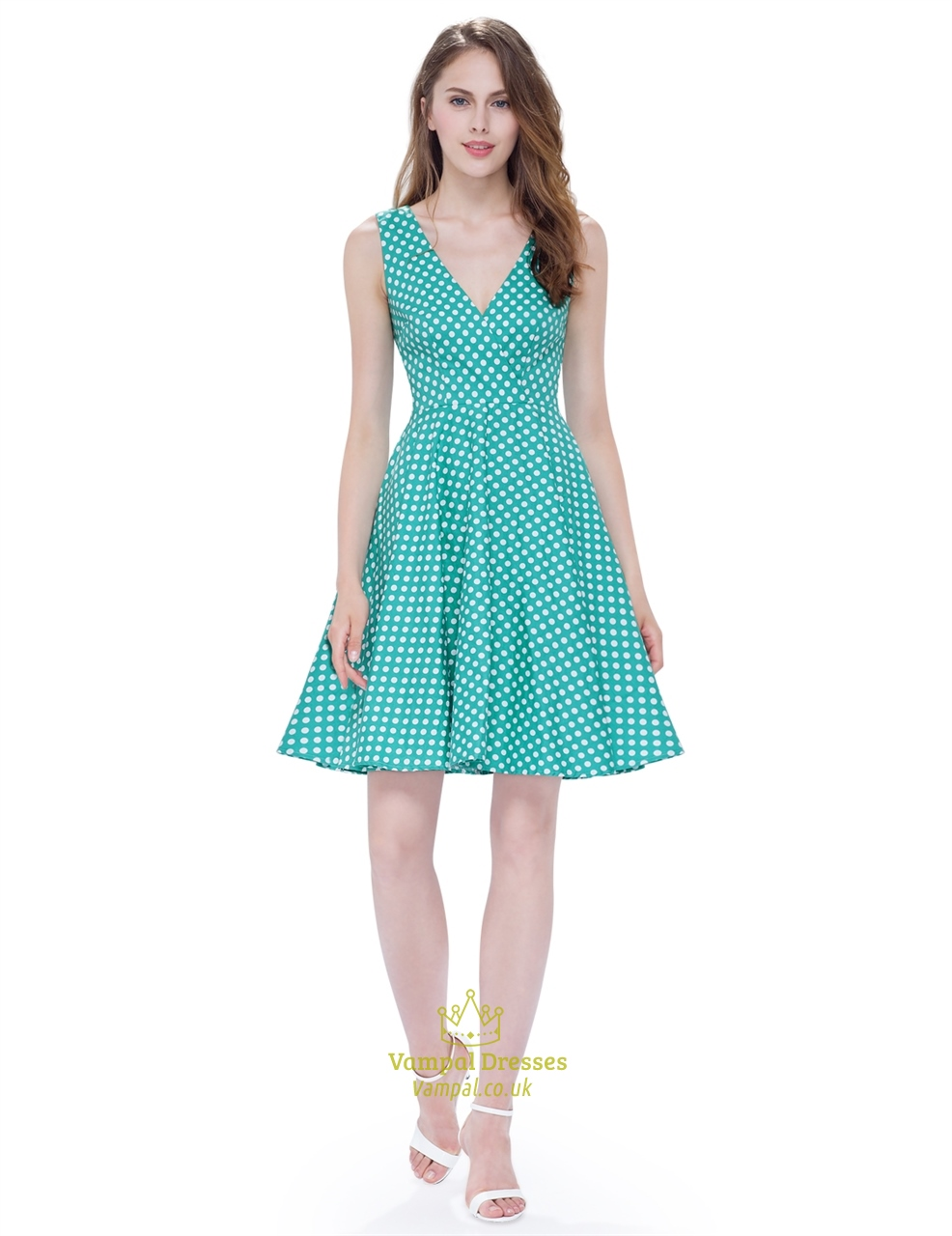 4c0082df135b Mint Green And White Polka Dot V Neck Sleeveless Fit And Flare Dress SKU  -AP093